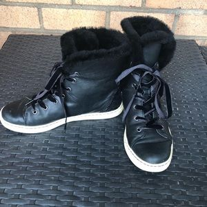 UGG Sheepskin-lined Velvet Leather Laceup Sneakers